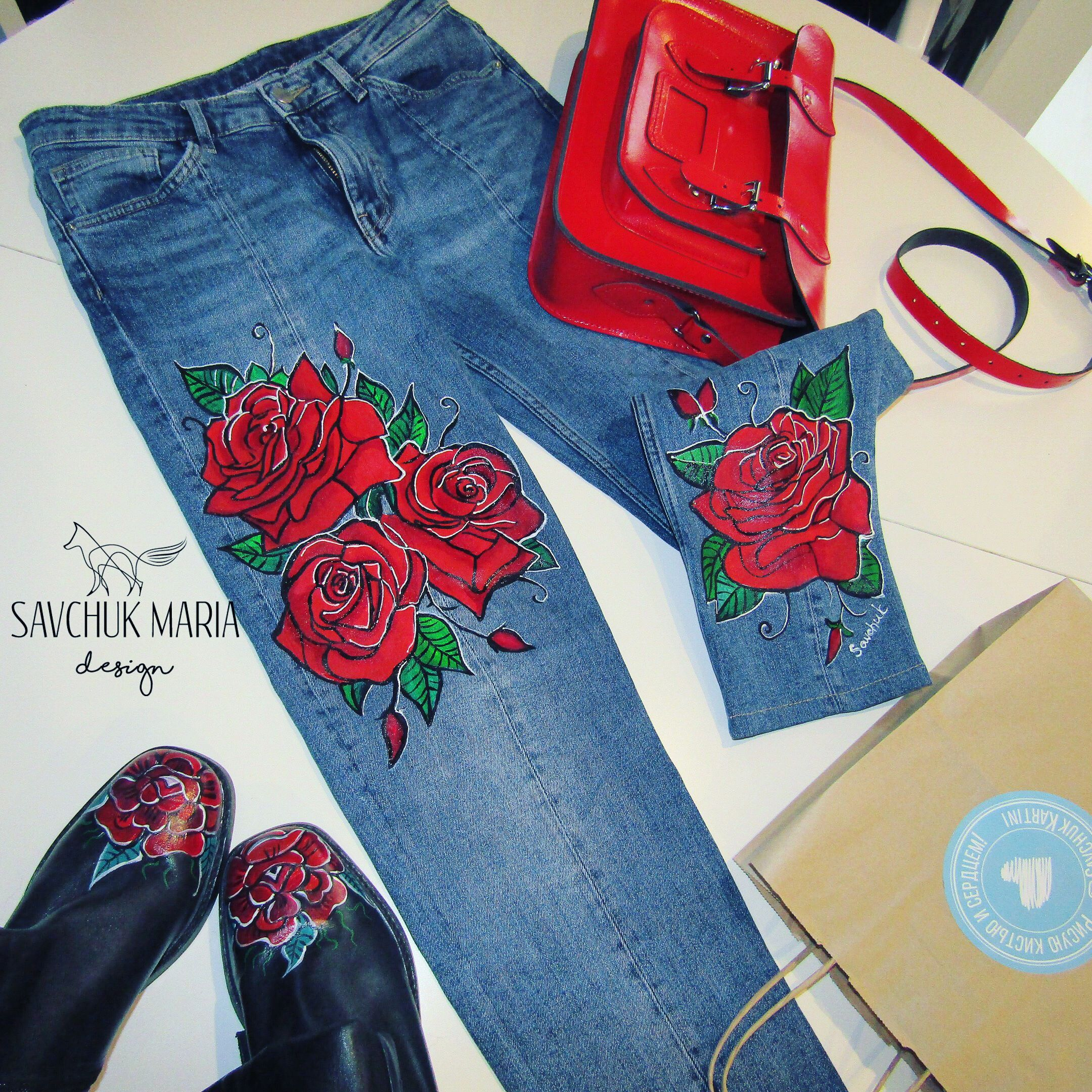рисунки на джинсах акриловыми красками