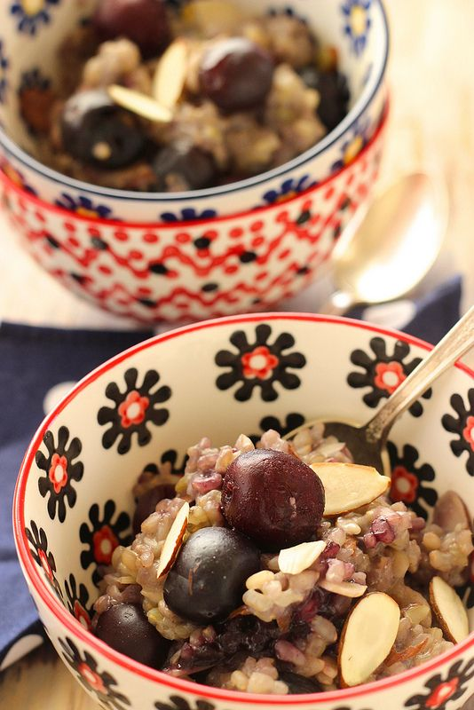 Sweet Cherry Almond Breakfast Risotto|Craving Something Healthy #ad