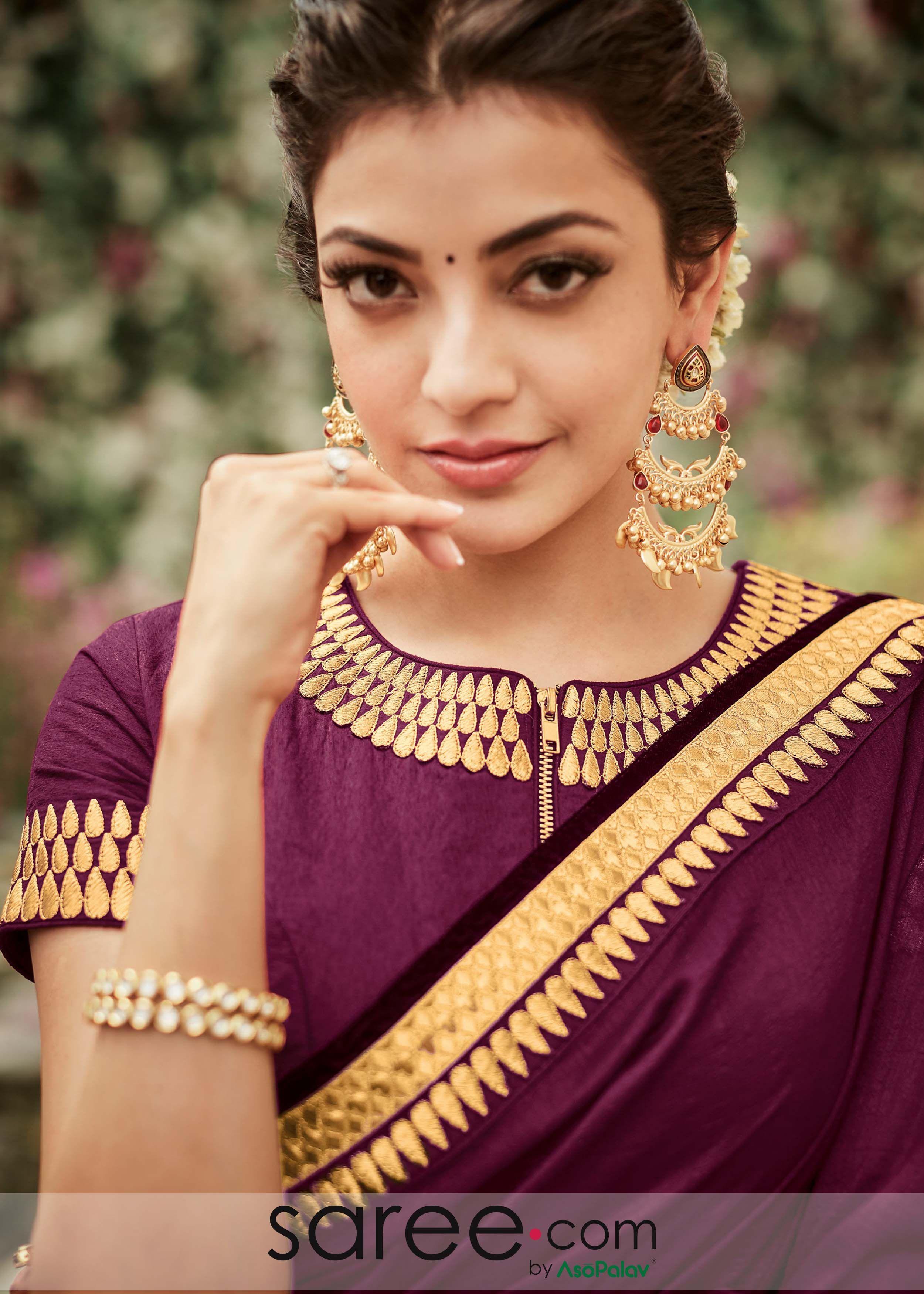 Purple Front Zip Blouse Trendy Blouse Designs Stylish Blouse Design Blouse Designs High Neck