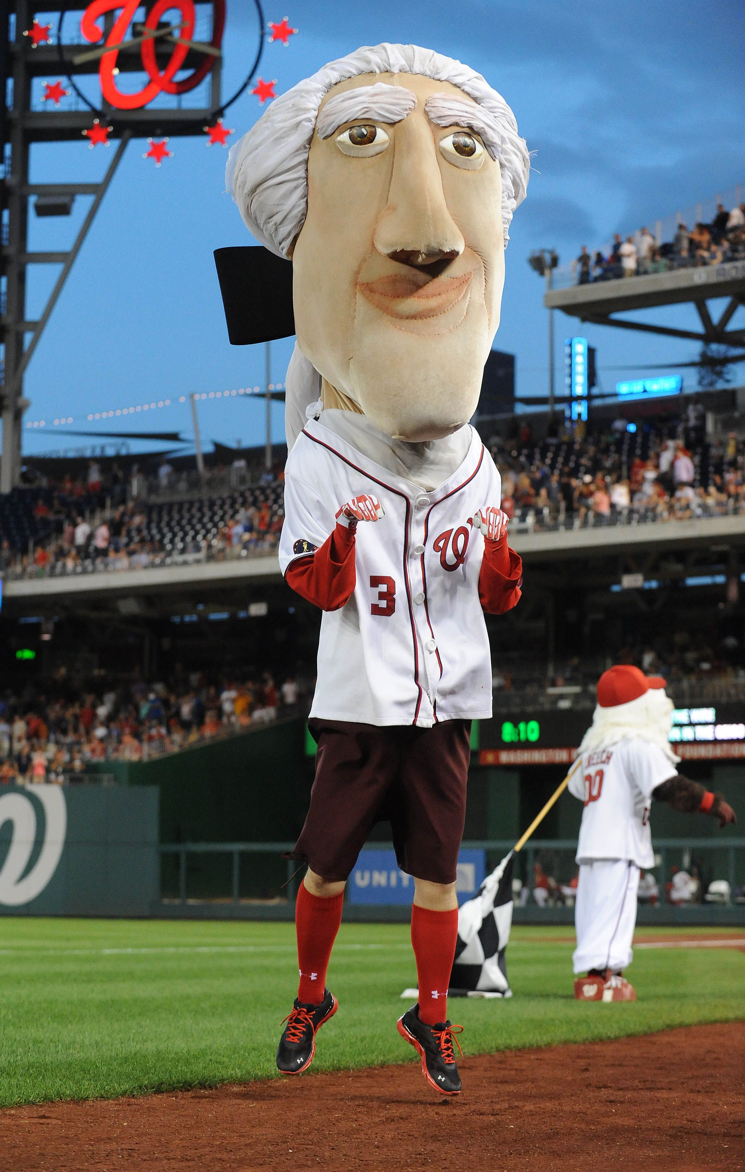 Thomas Jefferson Mascot Dances During The Game Between The Washington Nationals And The Philadelphia Philadelphia Phillies Washington Nationals Nationals Park