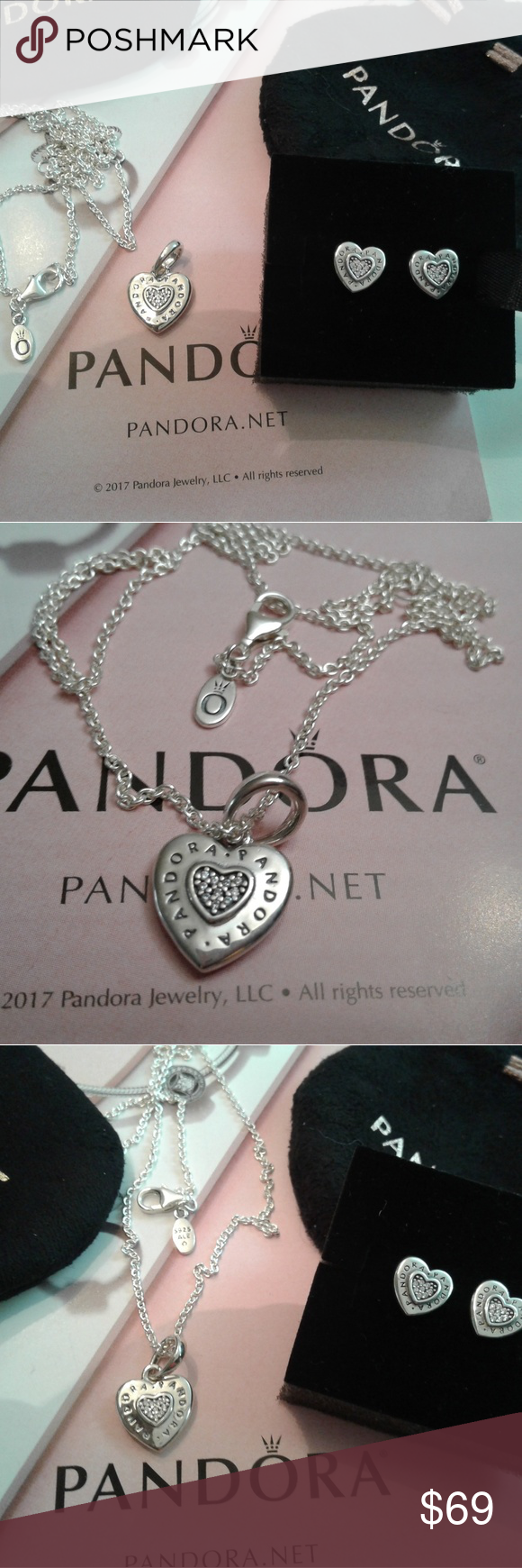 bef488da6 Chain · Heart Pendants · 3 piece authentic Pandora Signature earring Heart 3  piece authentic Pandora signature heart earring charm and
