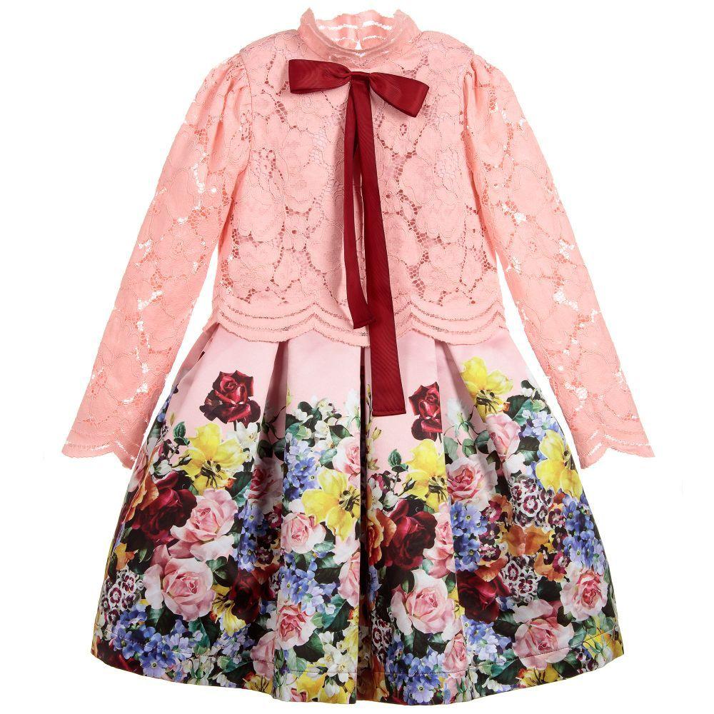 6ae57579c Girls Pink Lace   Satin Dress