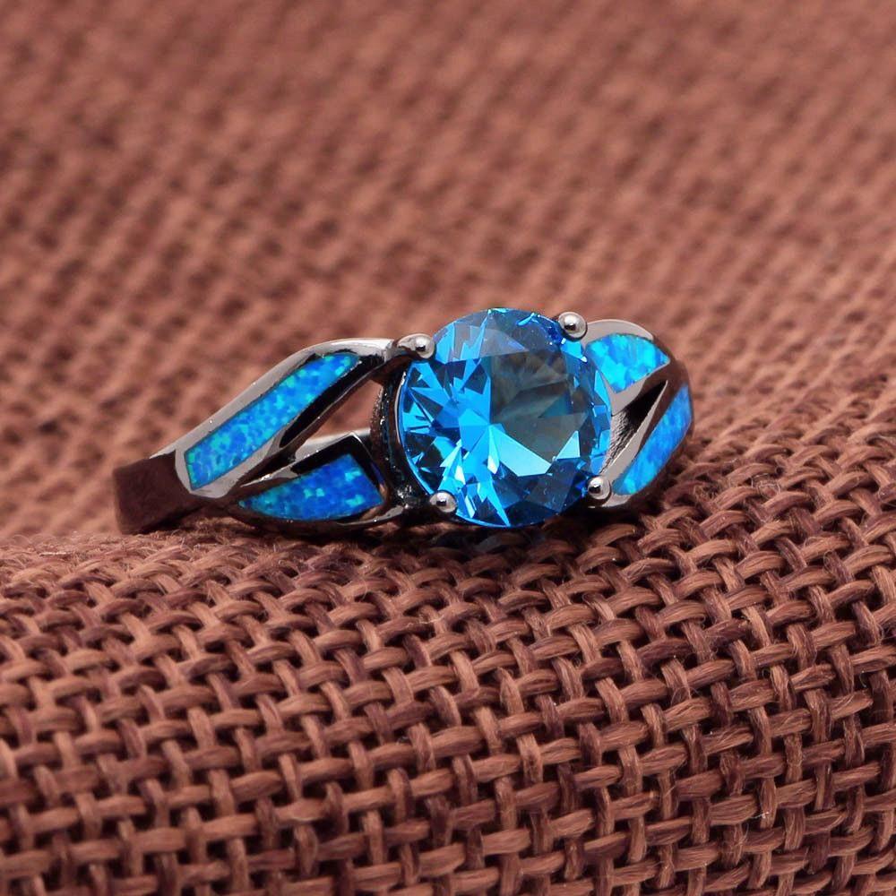 Mystic Topaz Blue Fire Opal Ring Opal rings, Rose gold