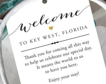 Set Of 10 Gift Tags For Wedding Hotel Welcome Bag Destination Thank You