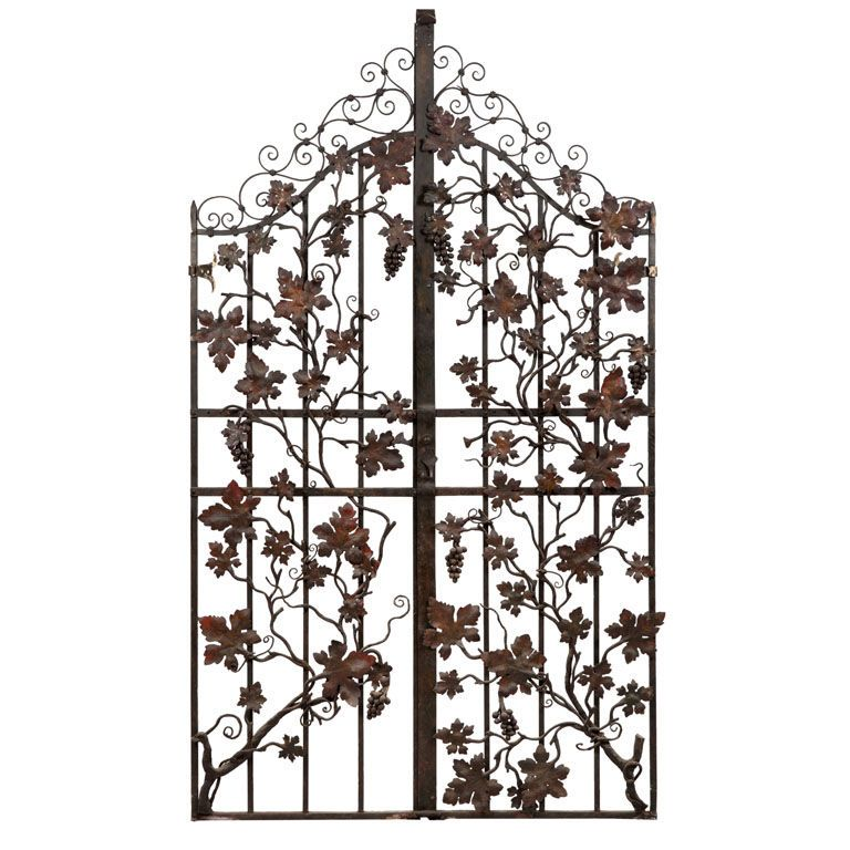 Impressive Wrought Iron Gates With Grape Vine Details From A