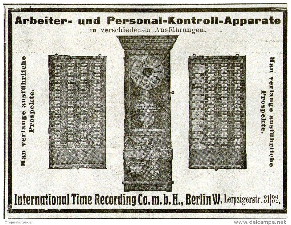 Original-Werbung/ Anzeige 1905 : ARBEITER/ PERSONAL- KONTROLL- APPARATE /INTERNATIONAL TIME RECORDING BERLIN 100 x 75 mm