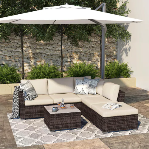 Fred Meyer Kumo Outdoor Sectional Sofa 4 Piece Wicker Patio Furniture With Waterproof Cover 4 Pieces In 2021 Patio Sofa Set Outdoor Furniture Sets Patio Sectional