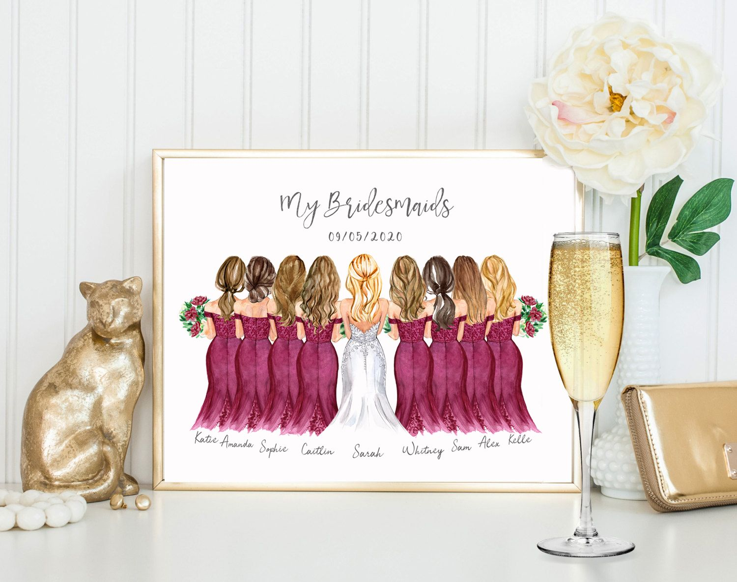 Customized Bridesmaids Gift Gifts For Bridesmaids Bridesmaid Gift Ideas Bride Gifts Gifts For Bride Wedding Favour Bridesmaids Print In 2020 Customized Bridesmaid Gifts Bride Gifts Bridesmaid Gifts