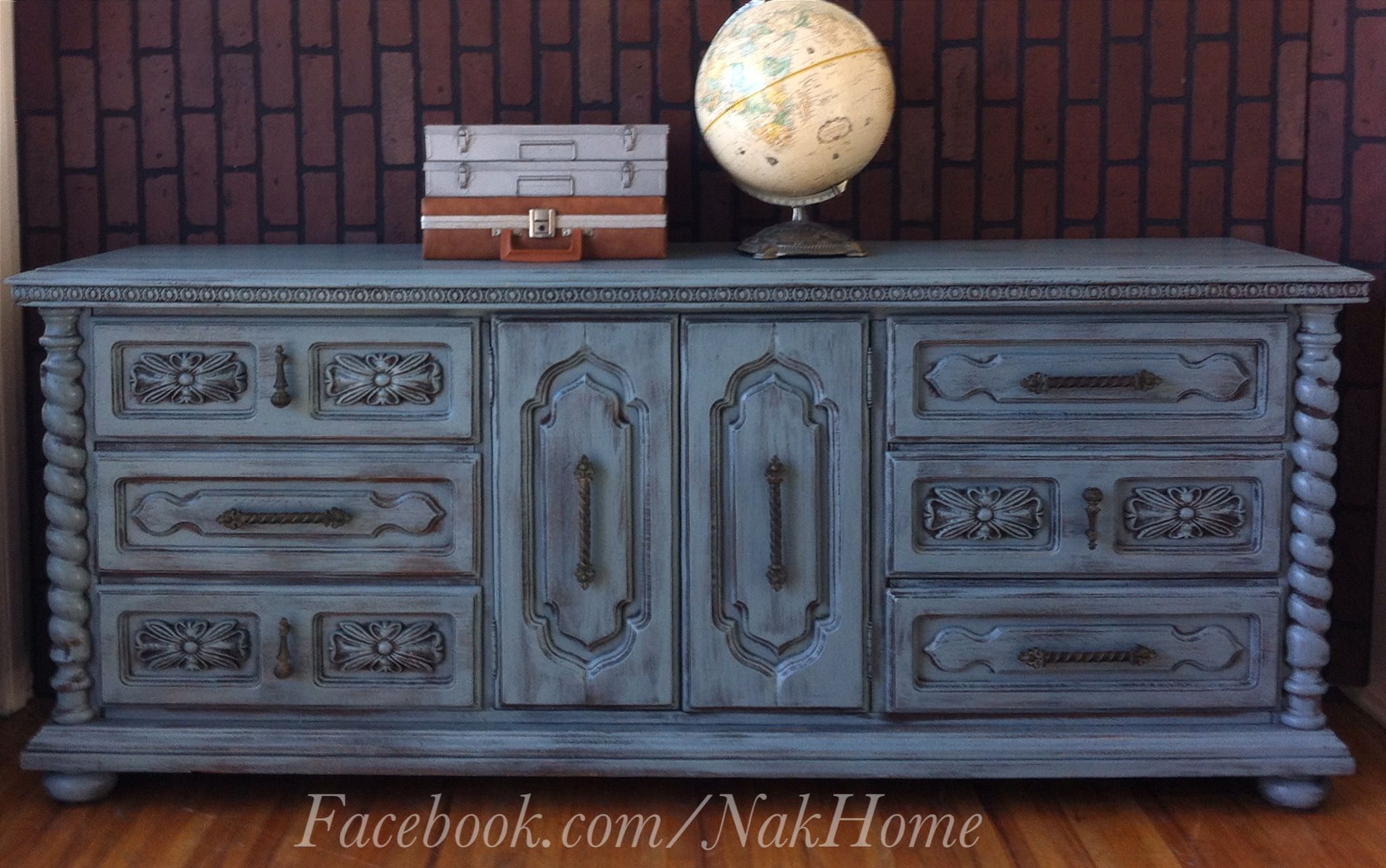 Furniture Makeover Shabby Chic Gray Blue Vintage Wood
