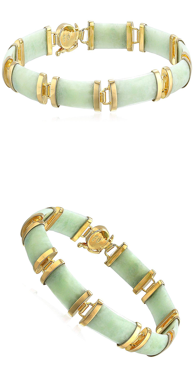 K yellow gold over sterling silver jade noodle link bracelet
