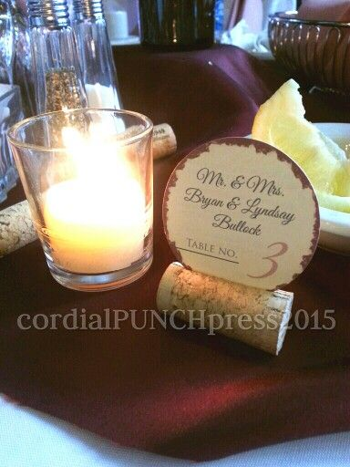 Cork Place Cards For Wedding Reception By Cordial Punch Press