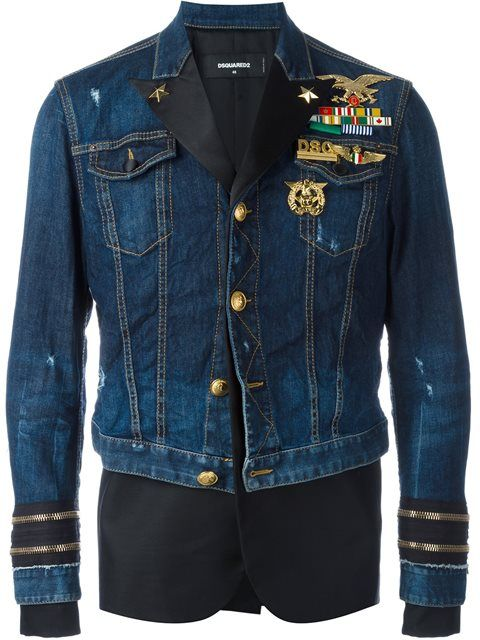 566ef0b4e65 Cool Men's Clothes: Neymar Jr's Dsquared2 Mixed Material Denim Jacket Floyd  Mayweather, Fall Jackets