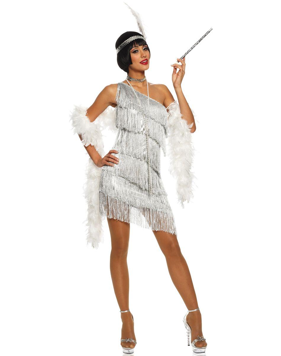 adult dazzling flapper silver costume £43.99 : direct 2 u fancy