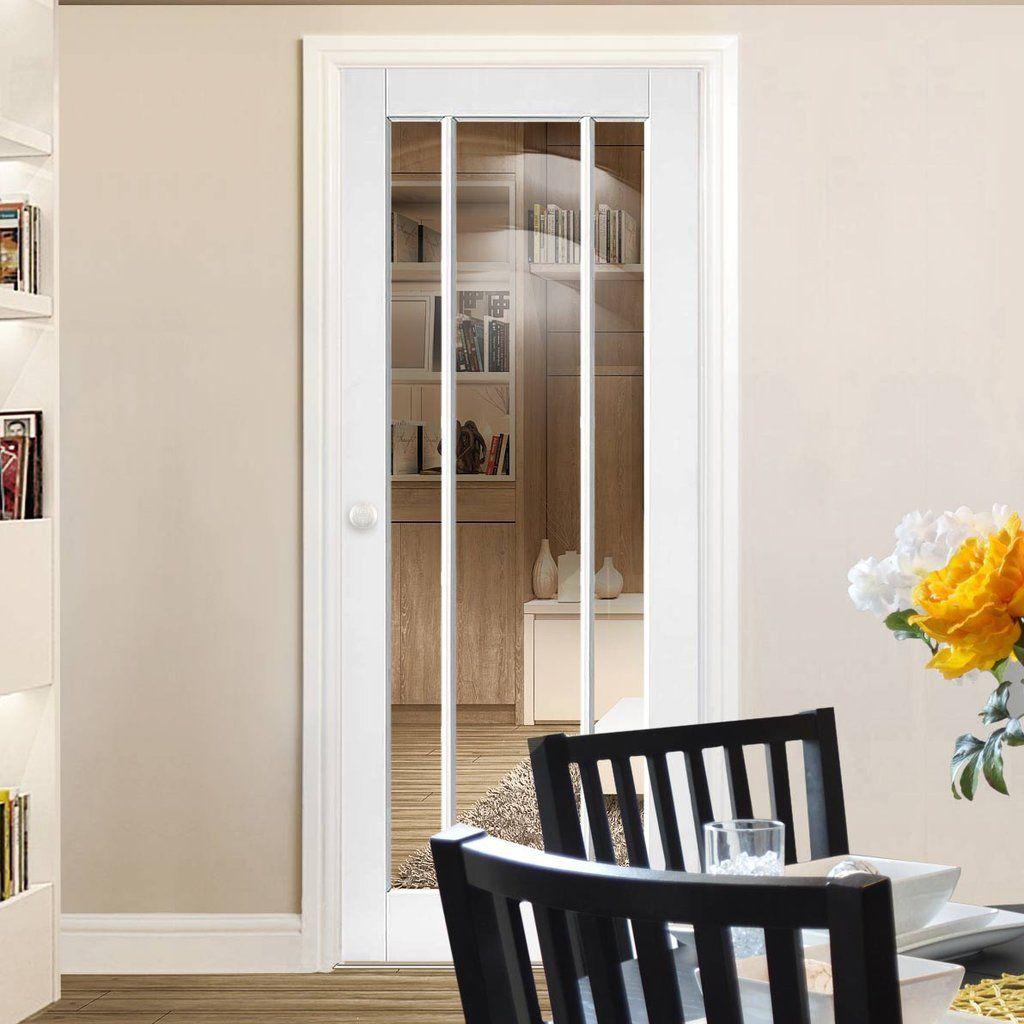 Bespoke Worcester White Primed 3 Pane Door Clear Glass