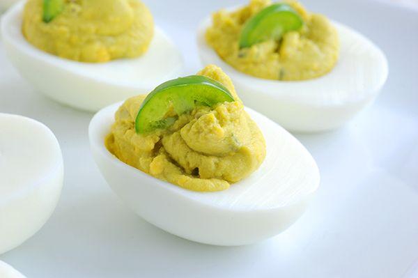 Avocado Lime Deviled Eggs with avocado, lime and cilantro