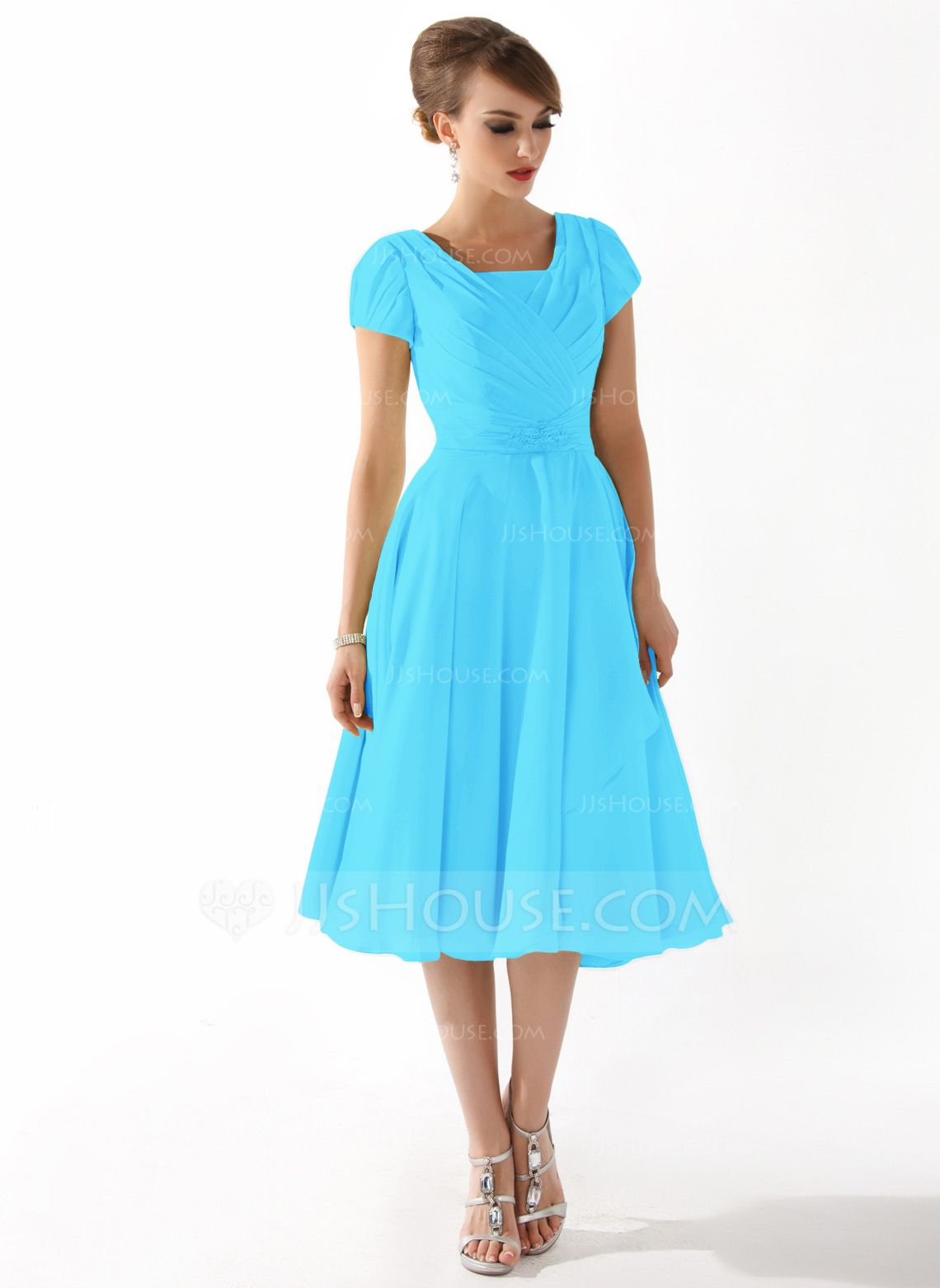 A-Line/Princess Square Neckline Knee-Length Chiffon Mother of the ...