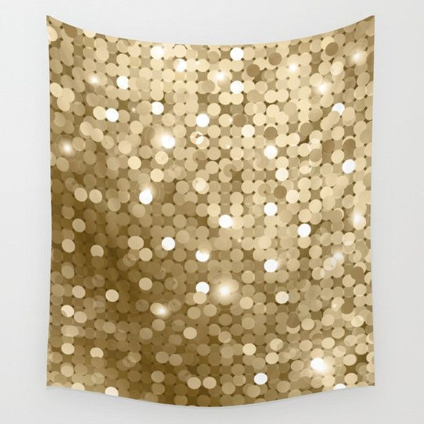Gold glitter texture Wall Tapestry ($44) ❤ liked on Polyvore ...