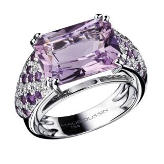 Ma Princesse d'Amour Ring , 18K white gold, Rose de France, diamond and amethyst pavé