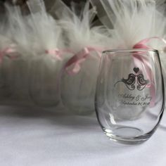 Bridal Shower Or Wedding Favor Stemless Wine Gles Wred In Tulle