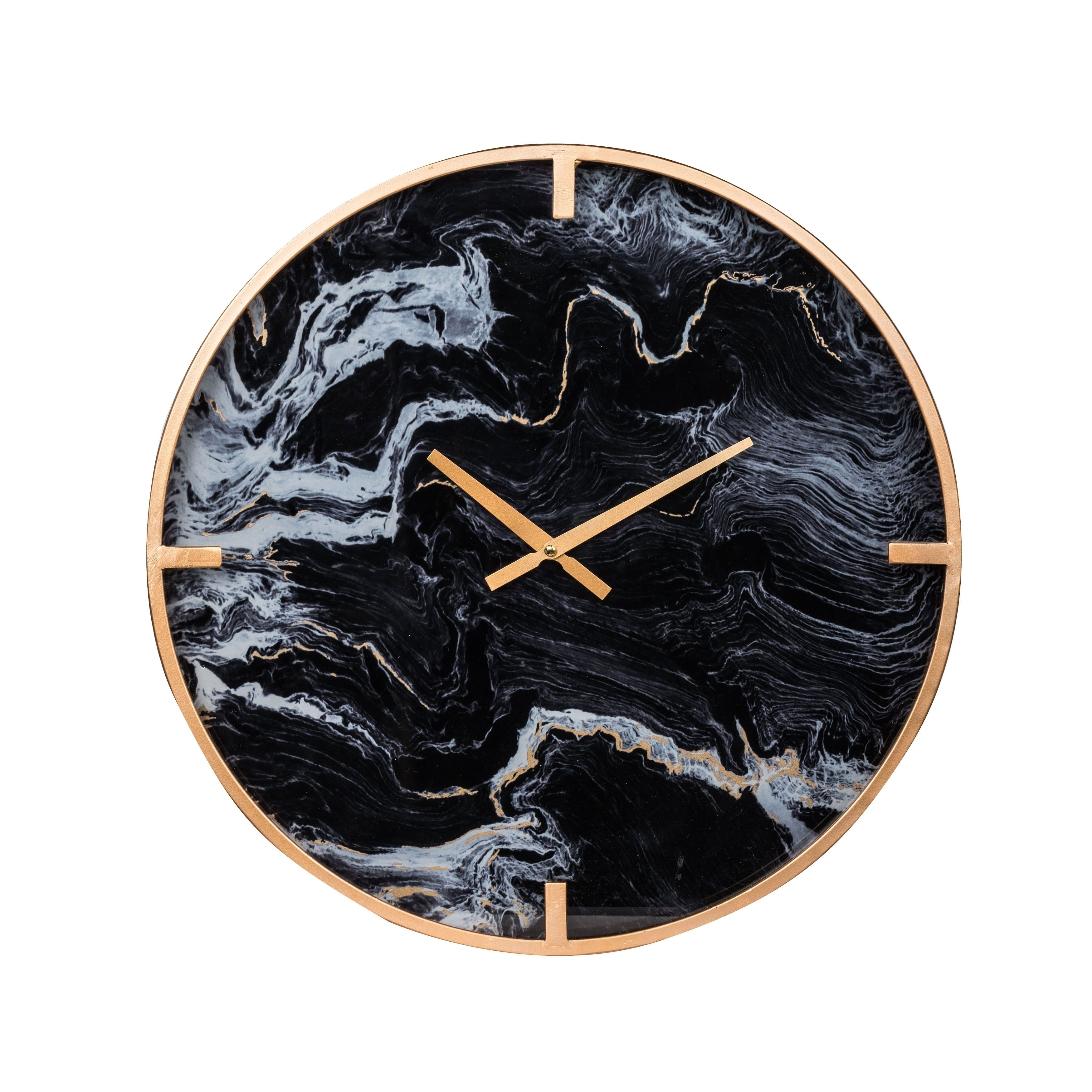 Modern Chic 20 Inch Black And Brass Marble Effect Wall Clock In 2020 Black Wall Clock Wall Clock Wall Clock Brands