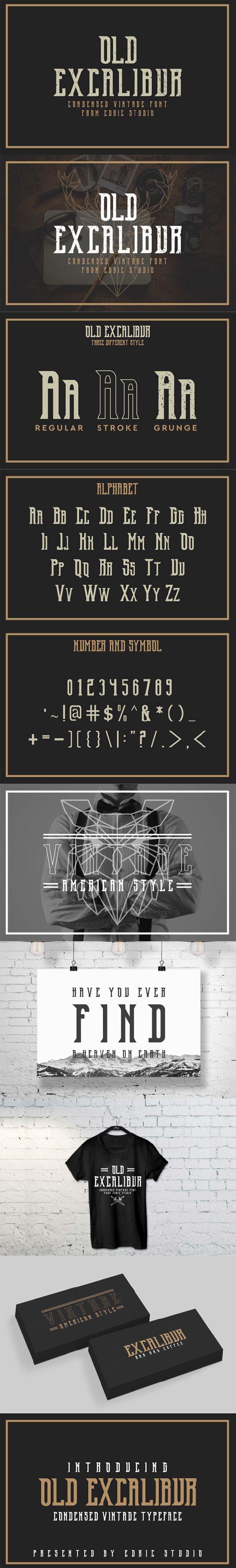 OldExcalibur. Professional font. font design art