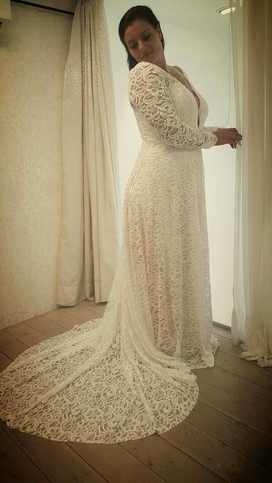 Plus Size Lace Wedding Gown With Long Sleeves And Deep V Neck Studio Levana