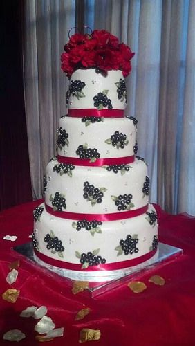 Black and White Fondant Cake for Valentine's Day gala event.