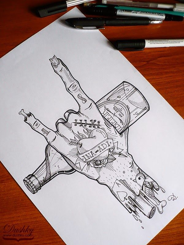 zombie rock'n'roll hand beer bottle tattoos by dushky