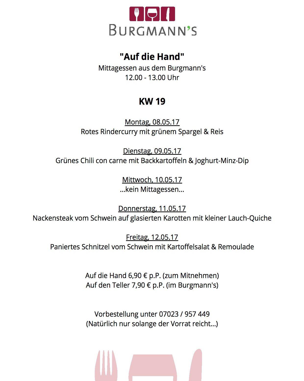KW 18 08.05.17 - 12.05.17 Mittagstisch im oder aus dem Burgmanns jetzt noch ein paar #hashtags:  #burgmanns  #restaurant  #weilheim  #esslingen  #stuttgart  #kirchheim  #lecker  #familienbetrieb  #aufdiehand  #aufdenteller  #weilheimlebt  #glasklar #steak  #veggie  #salat  #wein  #bier  #limo  #vivaconagua
