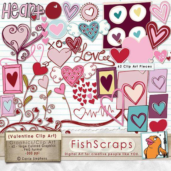 Valentine Clip Art - Doodles- Digital Graphics for Scrapbooks ...