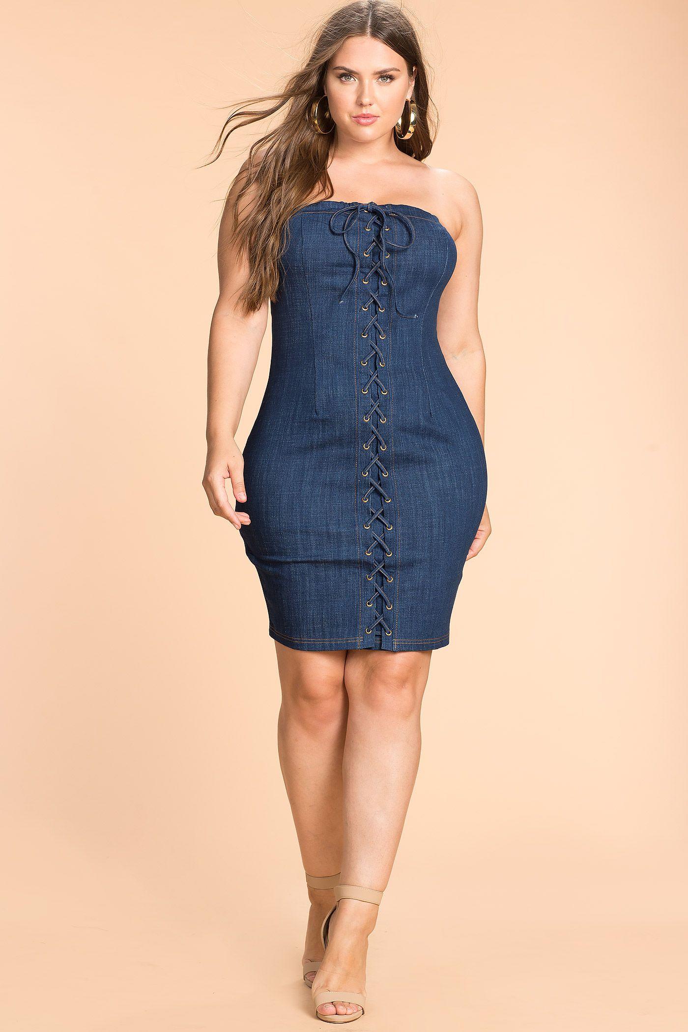 Women\'s Plus Size Bodycon Dresses | Lace Up Tube Denim Dress | A ...