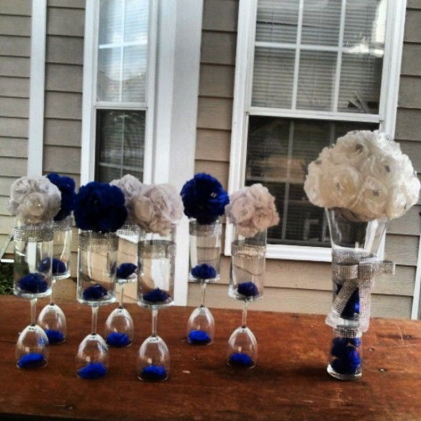 Centerpieces For A Wedding Reception Royal Blue White