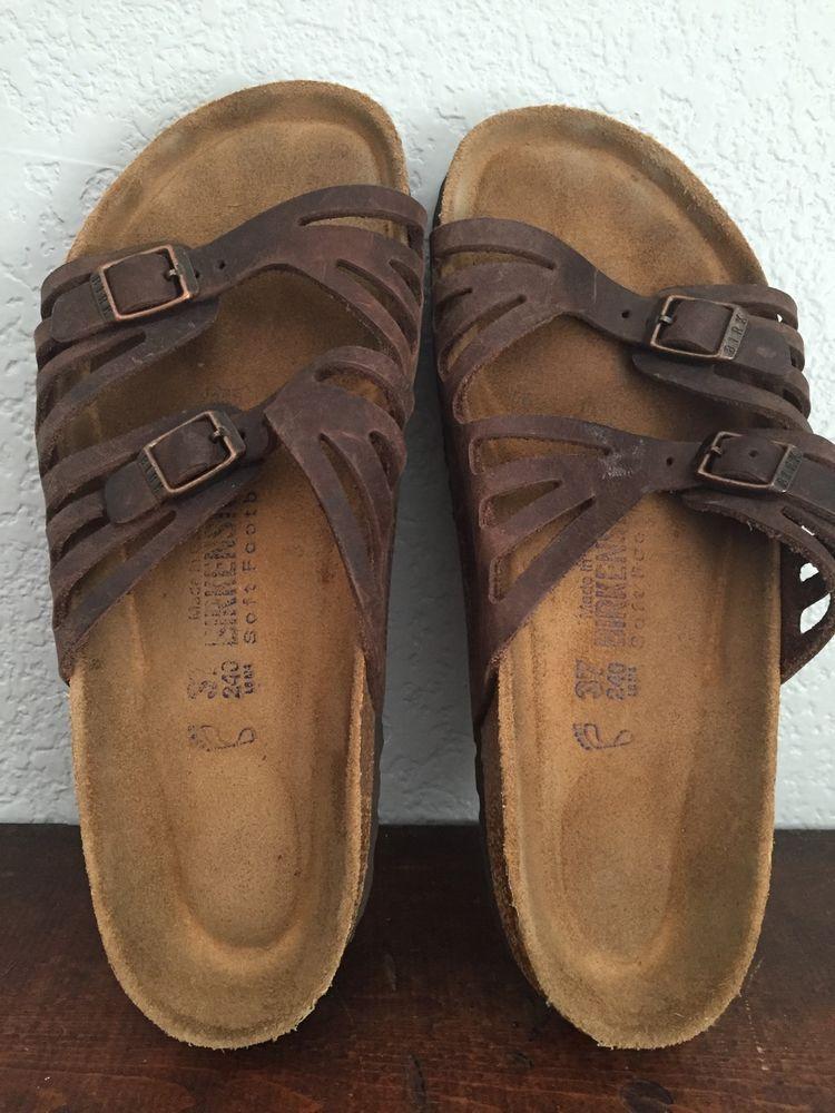 5ca74bd57e1 Birkenstock Granada Sandal Double Strap Germany Brown Tan Slide Women 7