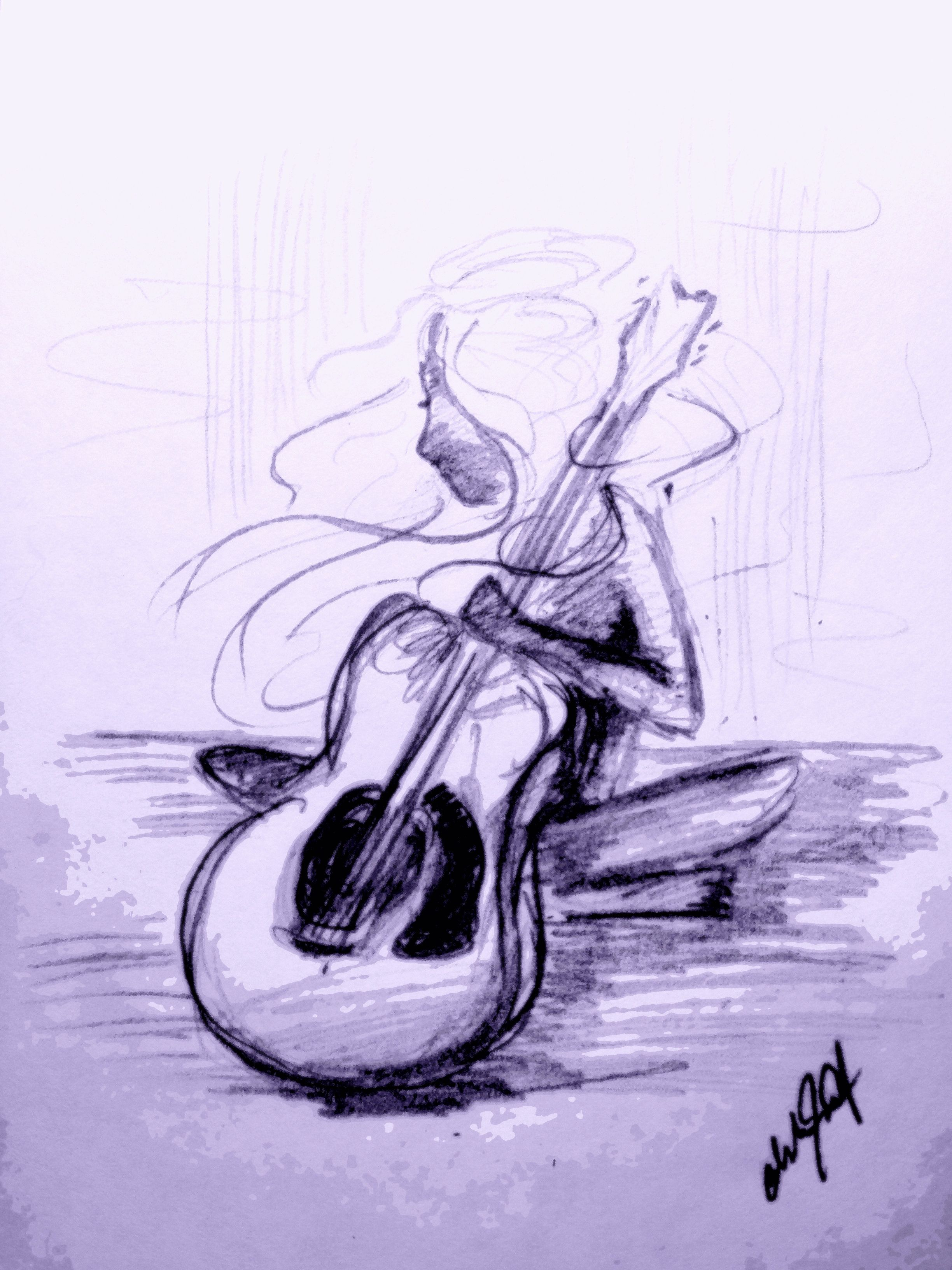 Girl and guitar pencil sketch