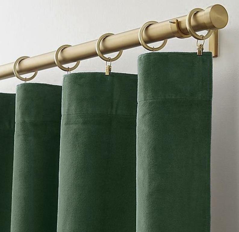 Pair Of Hunter Green Velvet Curtains Silky Velvet Curtains