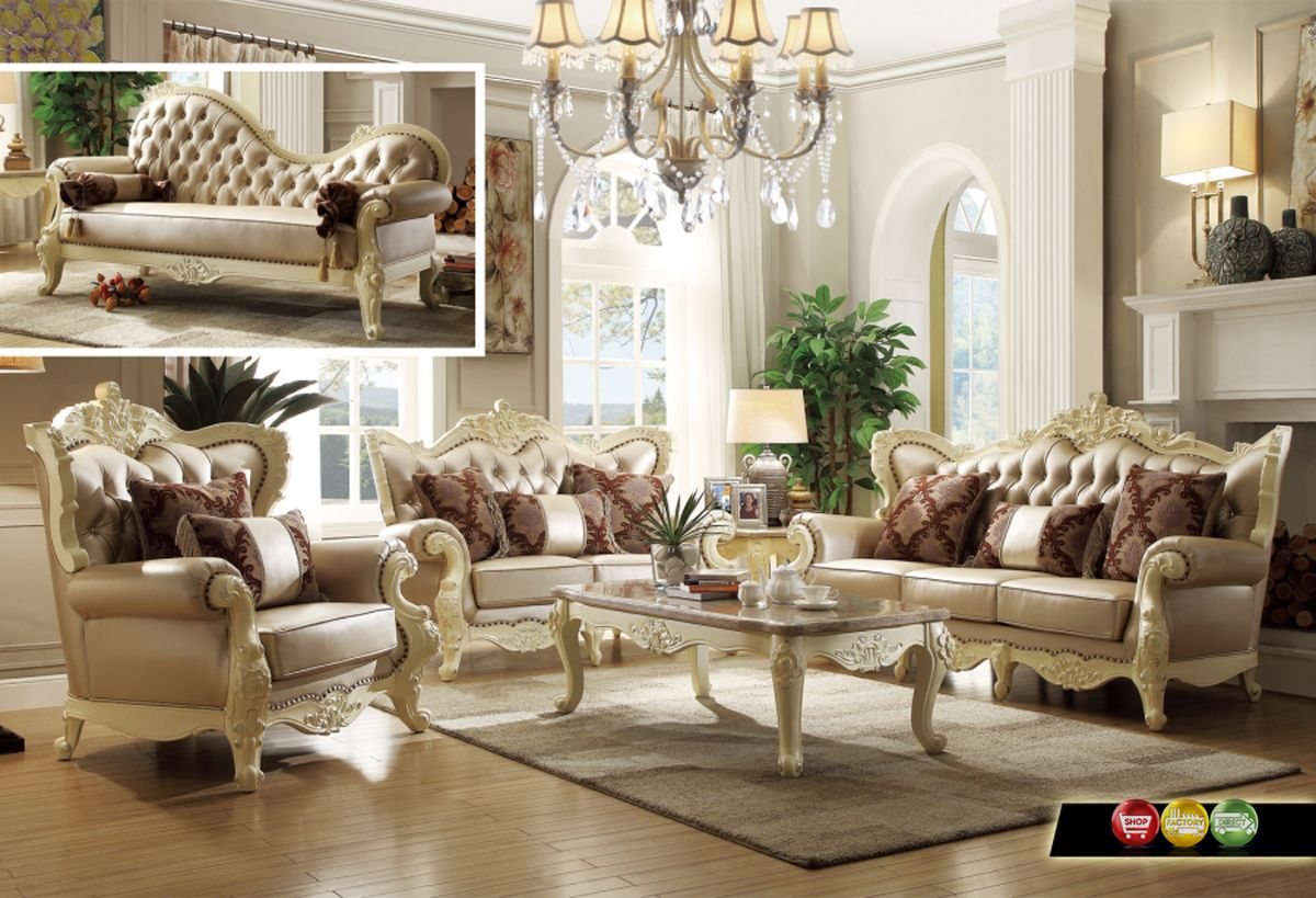 Traditional Living Room Set W/Pearl Bonded Leather And Antique White Carved  Wood