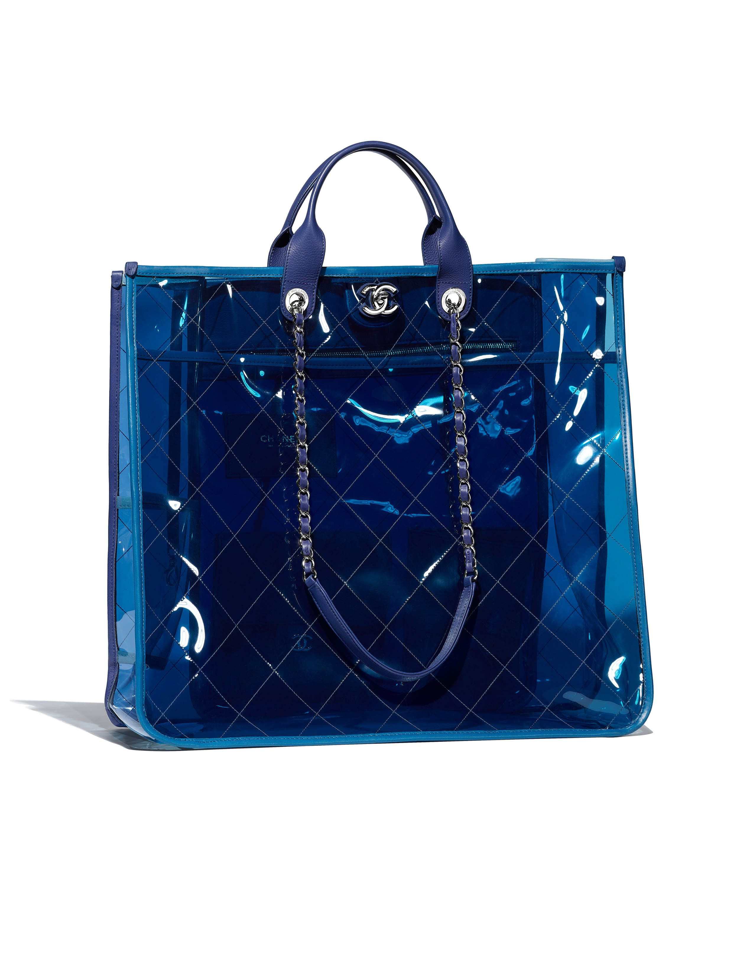 ffb154ff72bc Chanel - SS2018 | Blue & dark blue PVC large shopping bag | cap in ...