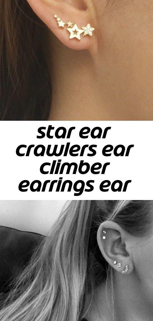 Star ear crawlers ear climber earrings ear climbers ear crawler earrings #earpiercingideas