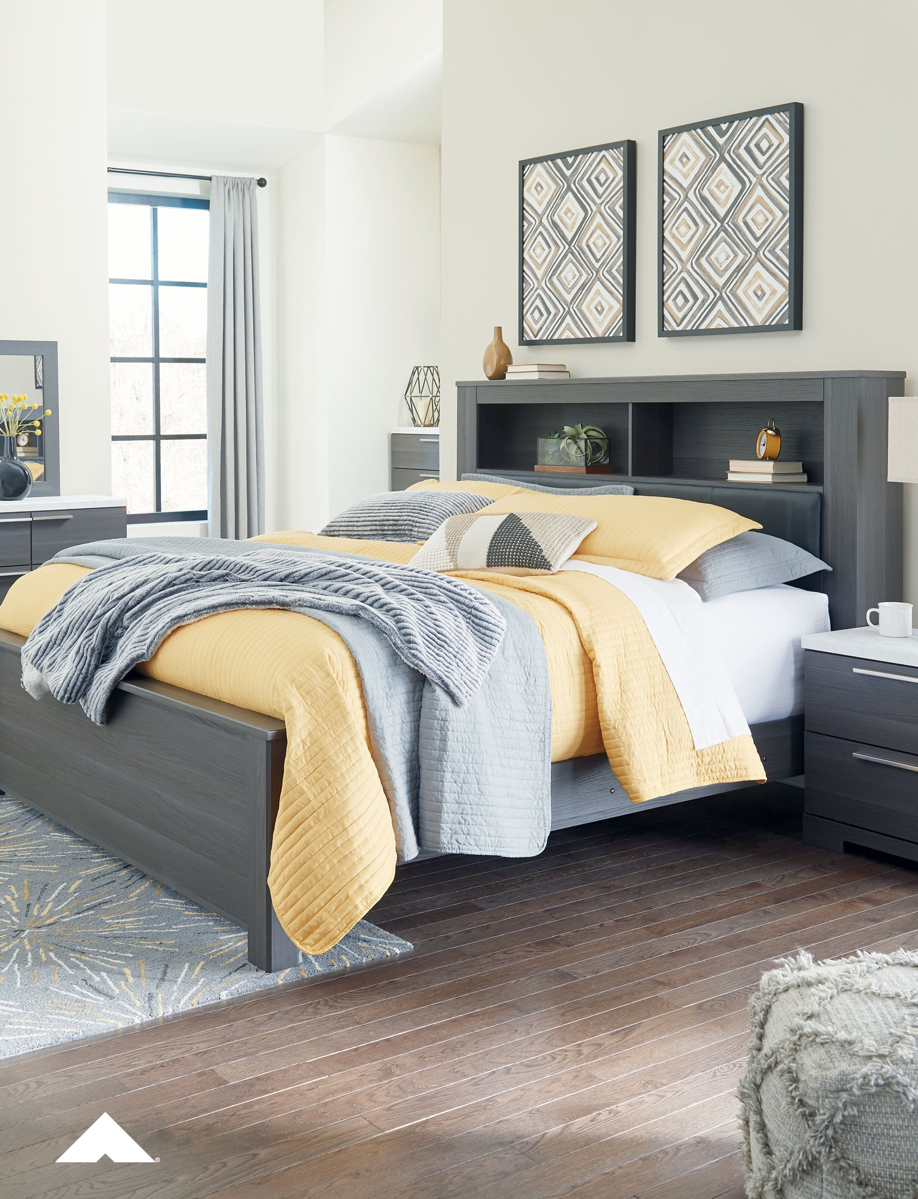 Foxvale Queen Upholstered Panel Bookcase Bed by Ashley