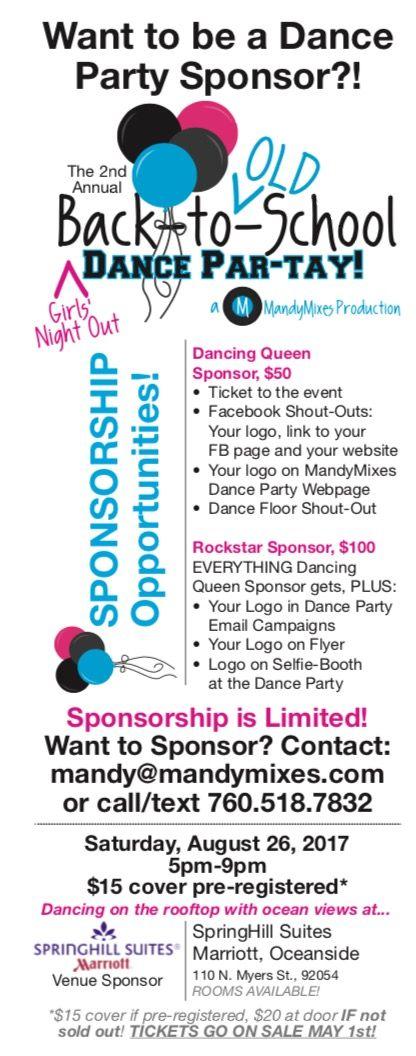 Dance Party Sponsor Opportunity! Night, School dances and Dance - sponsorship form