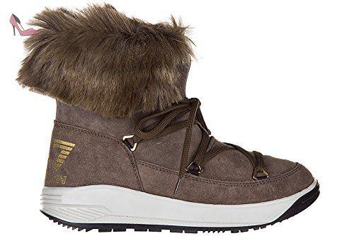 Emporio Armani EA7 demi bottes femme en daim ski fur nano marron EU 37  288045 7A210 b8393397a1a