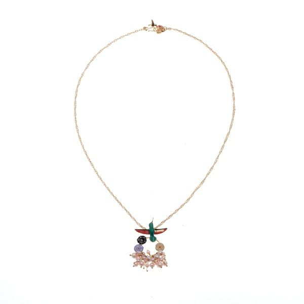 Voluptueuse Hummingbird Necklace Love Persimmon