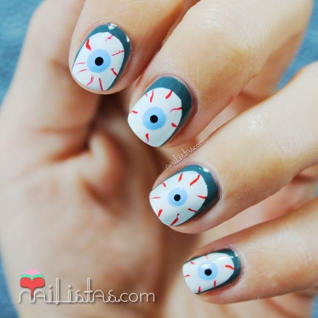 unas_decoradas_halloween_ojos_sangrientos   Nails   Pinterest   Uña ...