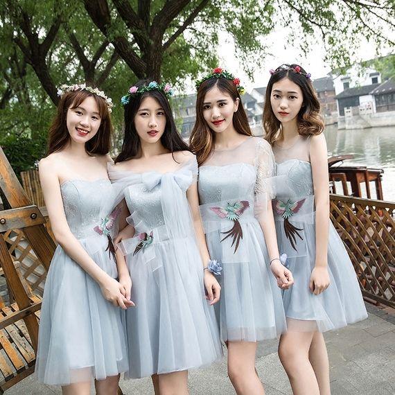 39a7cc6bb667 Bridesmaid dress short section 2017 new summer Korean bridesmaid dress  dress sisters skirt graduation small dress. Kunjungi. Maret 2019