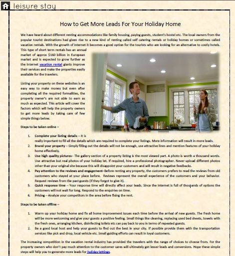 How to Get More Leads For Your Holiday Home  This article will cover the factors which will help the holiday home owners to get more leads by taking care of few simple things. Visit to read the full article.