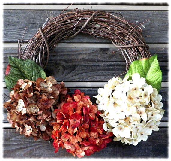 Fall Hydrangea WreathThanksgiving WreathOrange by SweetSwagory