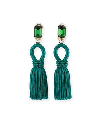 Oscar De La Renta Short Silk Tassel Earrings in Brown sQlV2