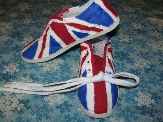 Handpainted Union Jack US Size 9 UK Size 75 Doctor by CLouiseJohnR, $30.00