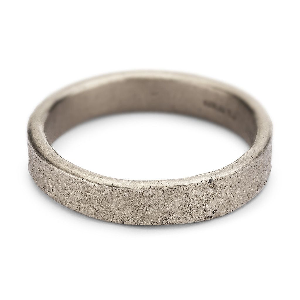 4mm wide mens wedding band crafted from white gold with a textured