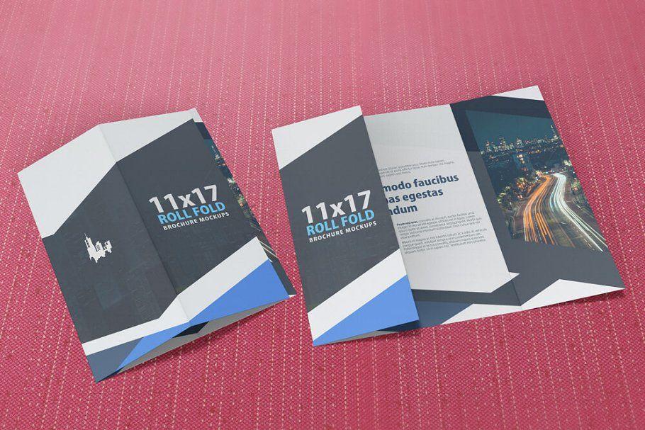 11x17 Roll Fold Brochure Mockup